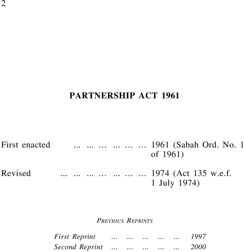 1 of 1961) Revised............ 1974 (Act 135 w.e.f. 1