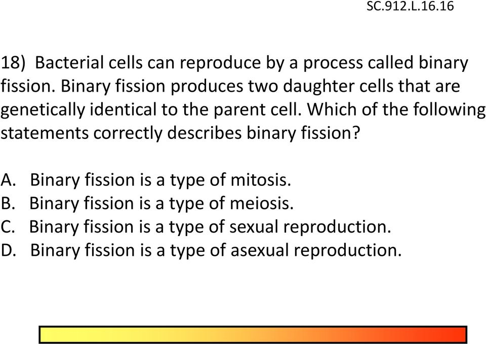 Which of the following statements correctly describes binary fission? A. Binary fission is a type of mitosis.