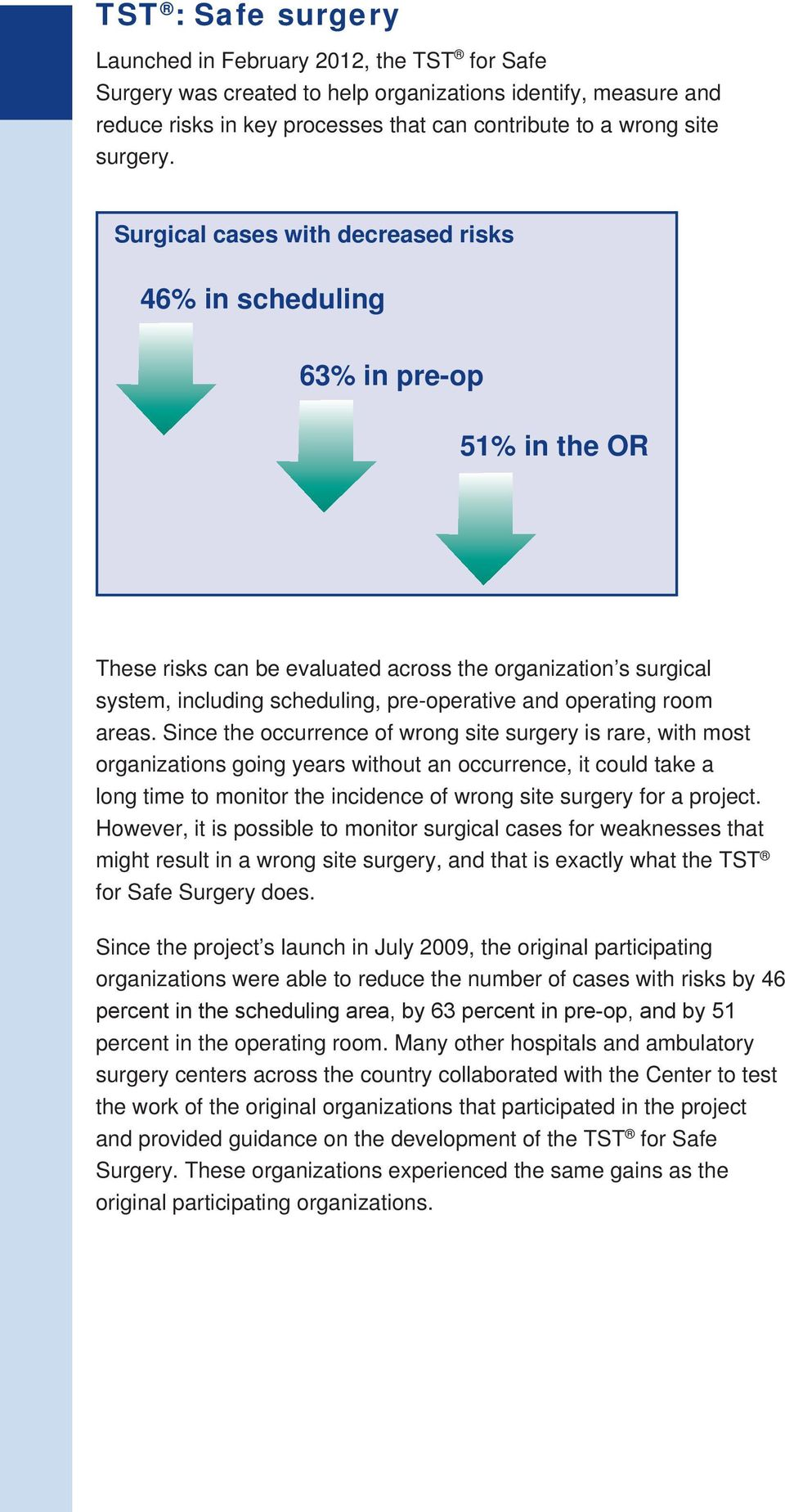 Surgical cases with decreased risks 46% in scheduling 63% in pre-op 51% in the OR These risks can be evaluated across the organization s surgical system, including scheduling, pre-operative and