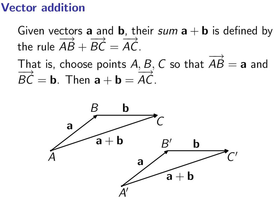 That is, choose points A, B, C so that AB = a and
