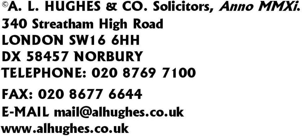 58457 NORBURY TELEPHONE: 020 8769 7100 FAX: