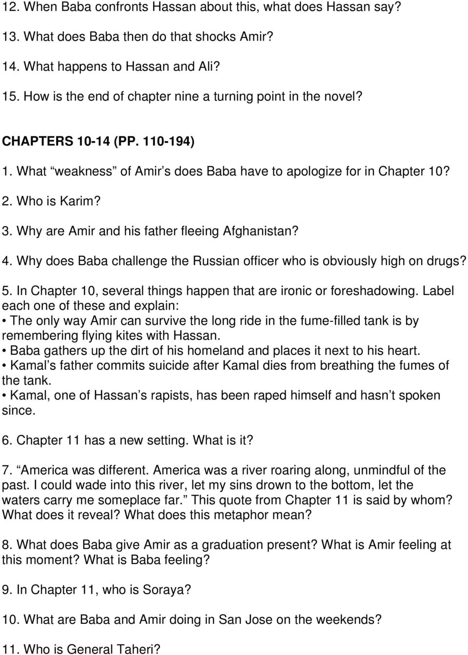 worksheet Foreshadowing Worksheet 1 the novel begins with a flashback what do you think is its why are amir and his father fleeing afghanistan 4 does baba challenge the