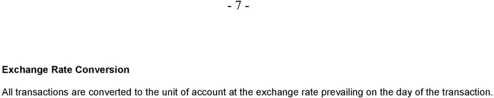 unit of account at the exchange rate