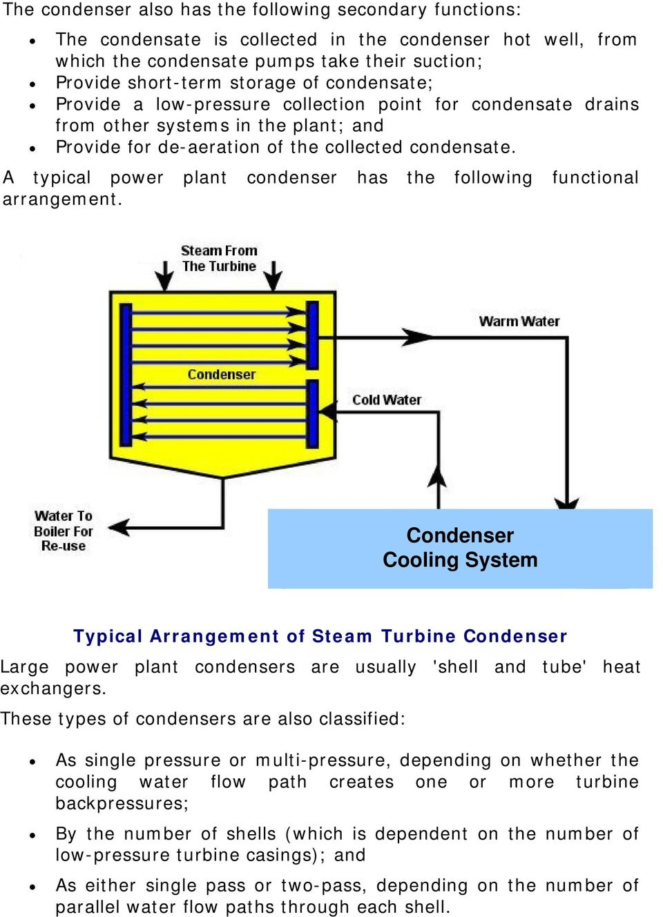 A typical power plant condenser has the following functional arrangement.