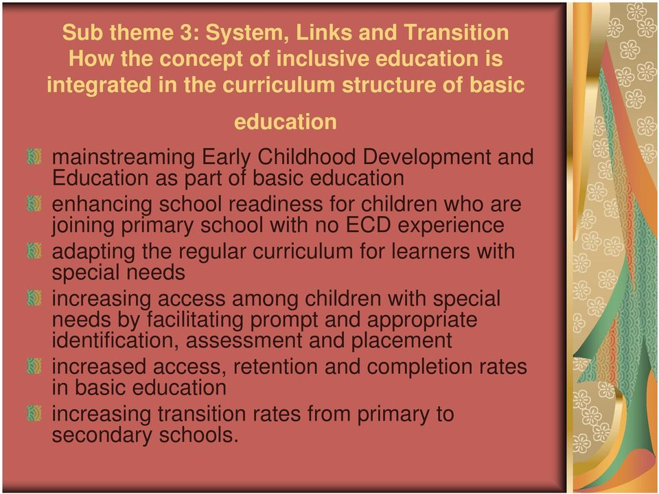 adapting the regular curriculum for learners with special needs increasing access among children with special needs by facilitating prompt and appropriate