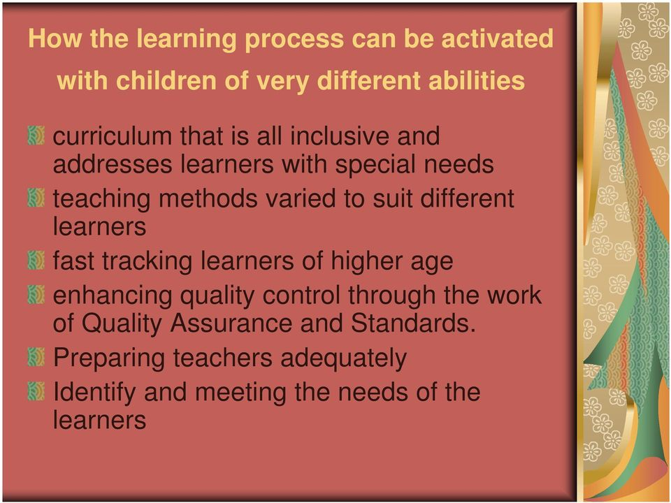 learners fast tracking learners of higher age enhancing quality control through the work of Quality