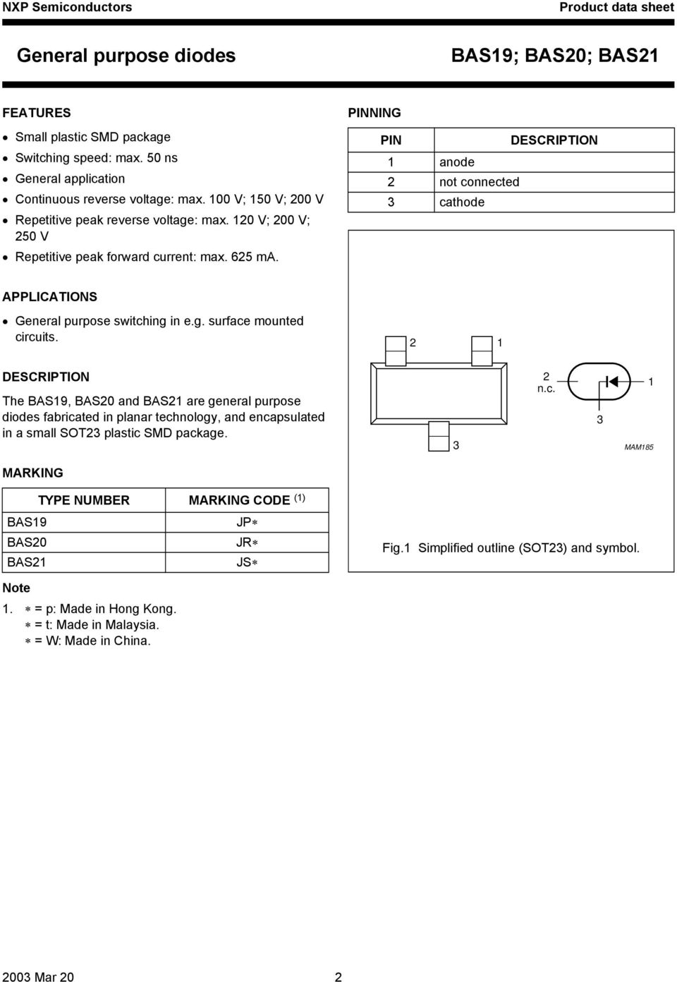 DESCRIPTION The BAS19, BAS20 and BAS21 are general purpose diodes fabricated in planar technology, and encapsulated in a small SOT23 plastic SMD package. handbook, halfpage 2 1 2 n.c. 3 MAM185 3 1 MARKING TYPE NUMBER MARKING CODE (1) BAS19 JP BAS20 JR BAS21 JS Fig.