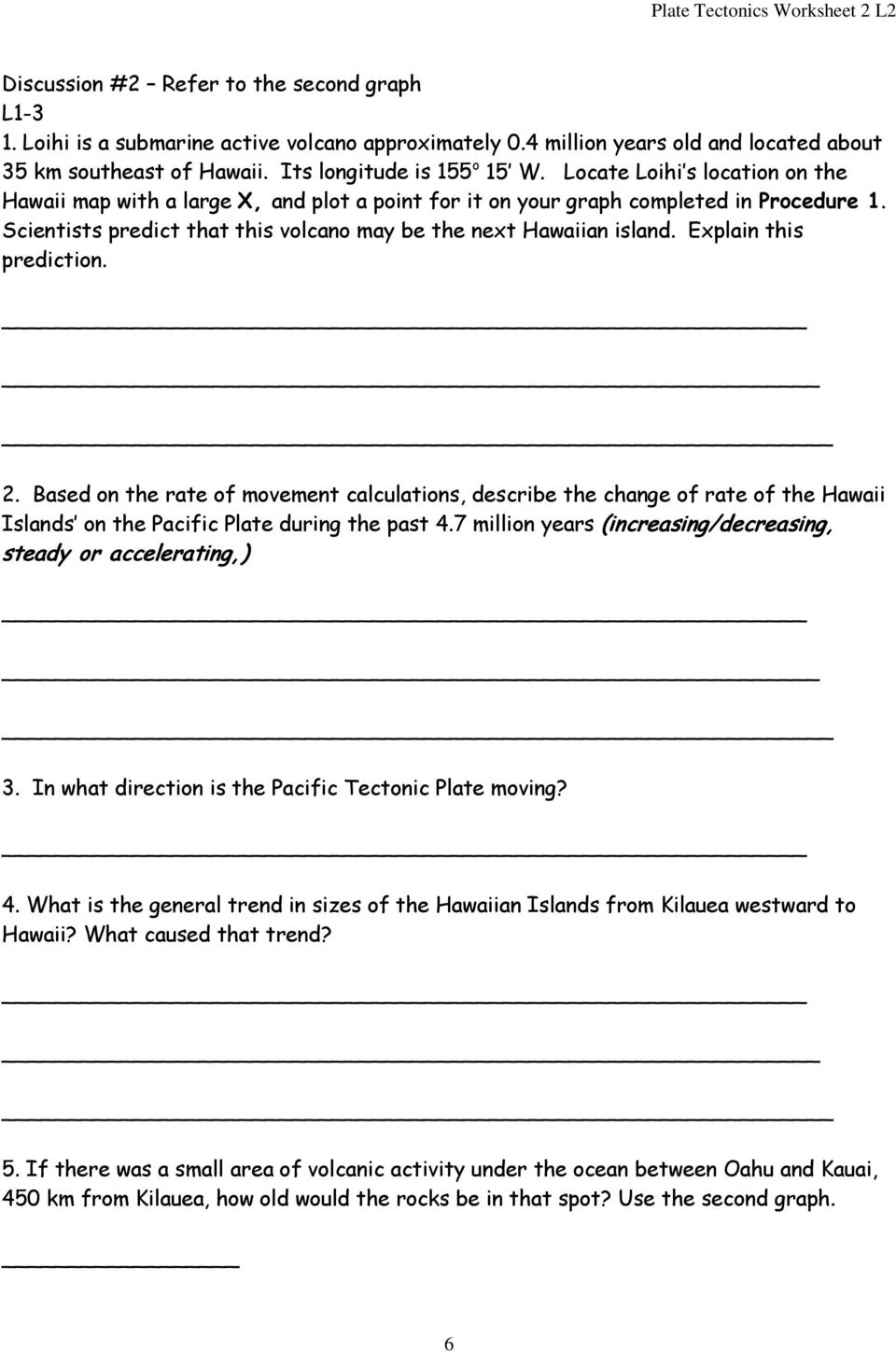 worksheet Theory Of Plate Tectonics Worksheet misp plate tectonics worksheet 2 l2 pdf explain this prediction based on the rate of movement calculations describe the