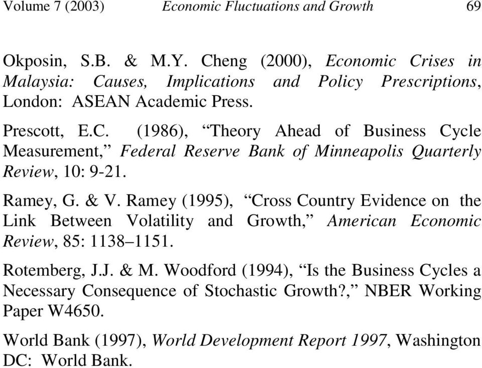 ECONOMIC FLUCTUATIONS AND GROWTH AN EMPIRICAL STUDY OF THE