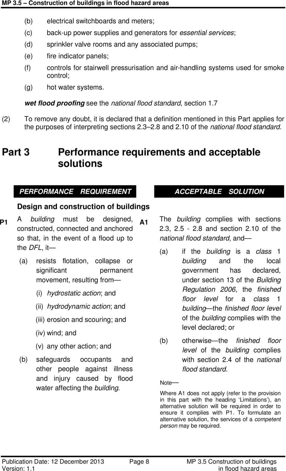 7 (2) To remove any doubt, it is declared that a definition mentioned in this Part applies for the purposes of interpreting sections 2.3 2.8 and 2.10 of the national flood standard.