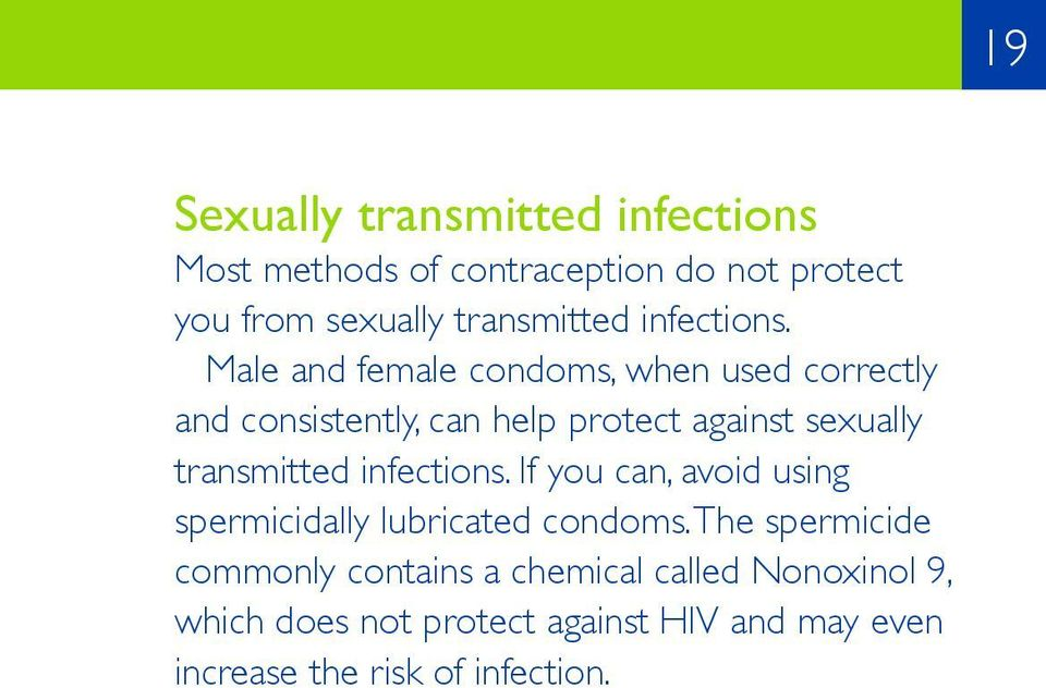 Male and female condoms, when used correctly and consistently, can help protect against sexually transmitted