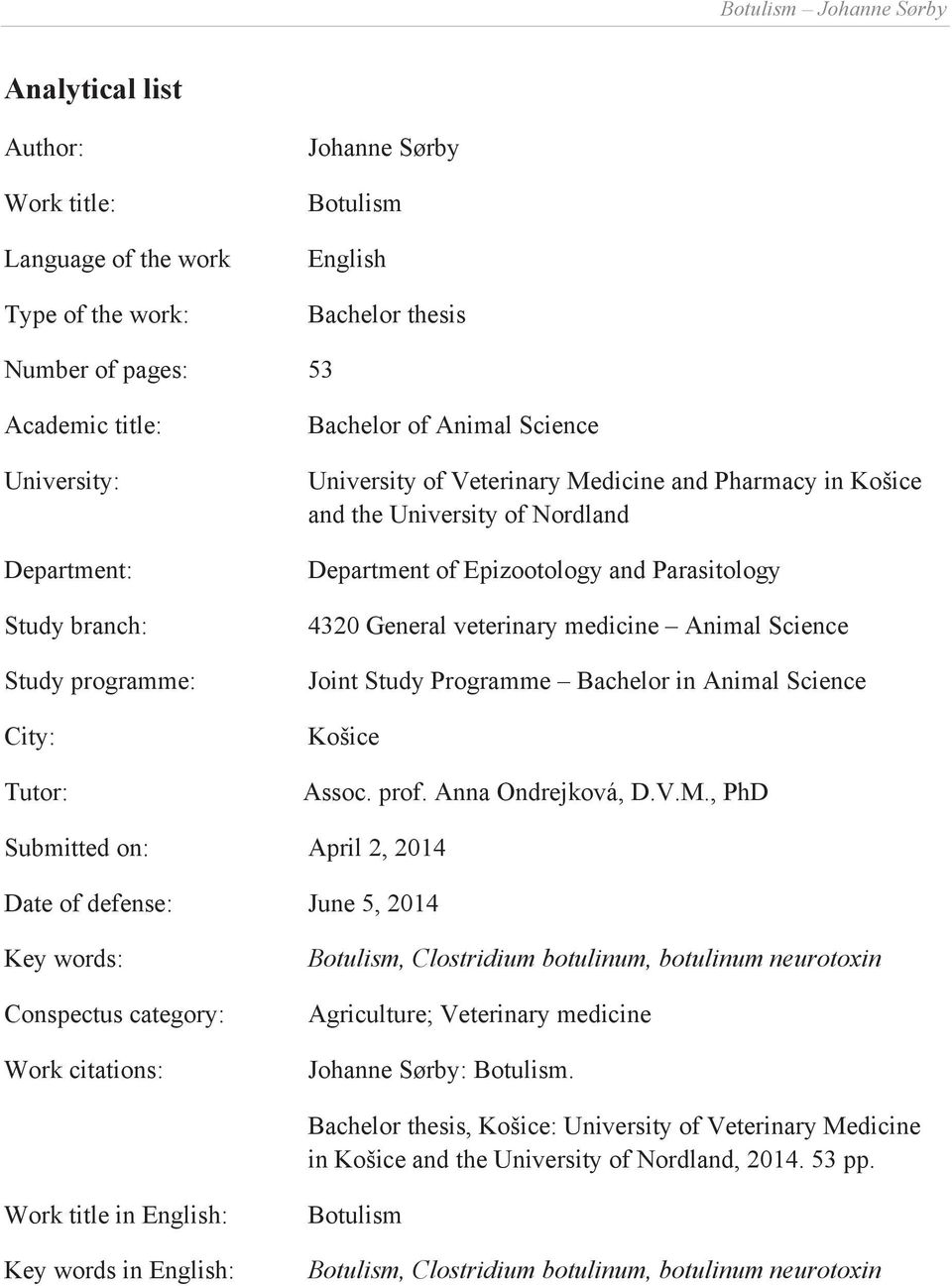 Veterinary Medicine thesis assistance
