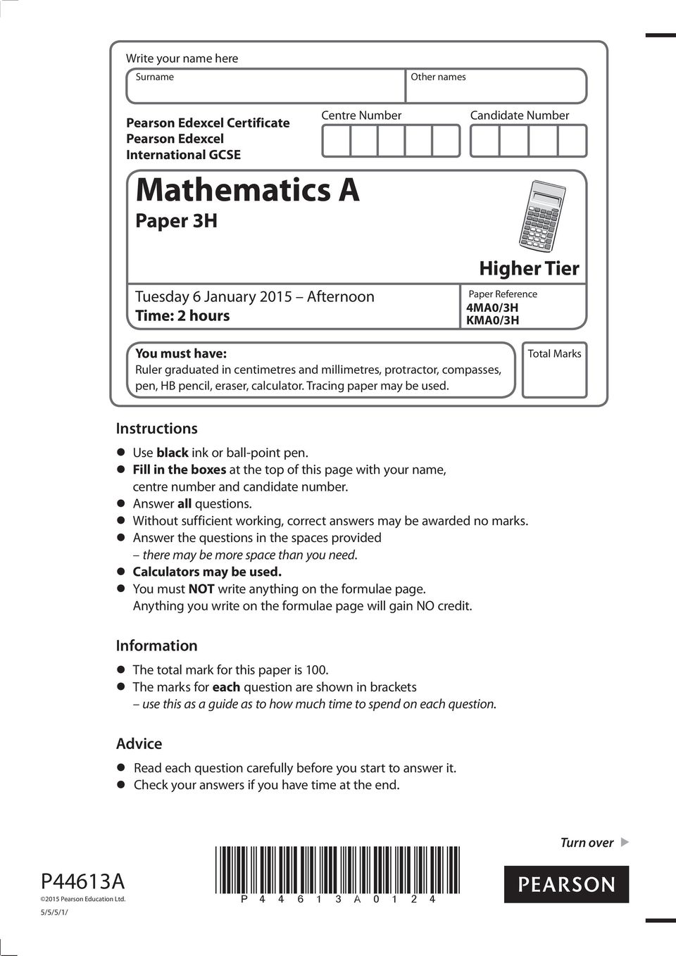 Total Marks Instructions Use black ink or ball-point pen. Fill in the boxes at the top of this page with your name, centre number and candidate number. Answer all questions.