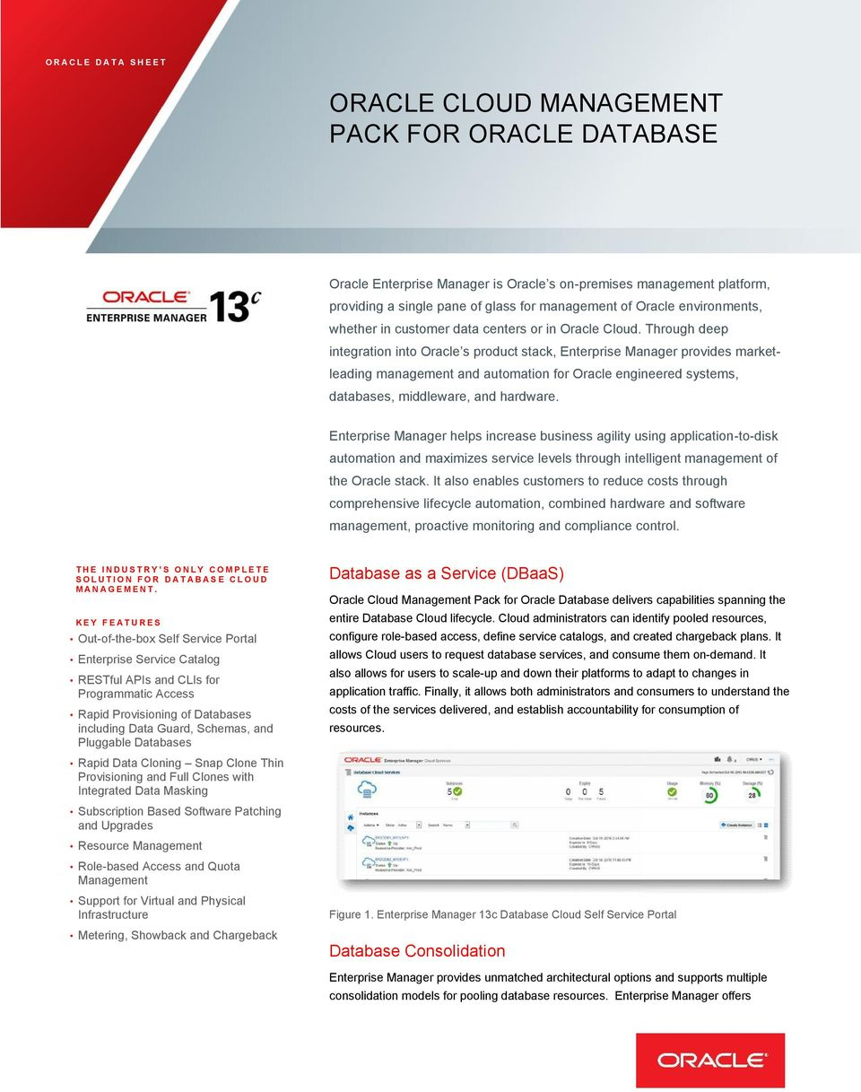 Through deep integration into Oracle s product stack, Enterprise Manager provides market- systems, leading management and automation for Oracle engineered databases, middleware, and hardware.