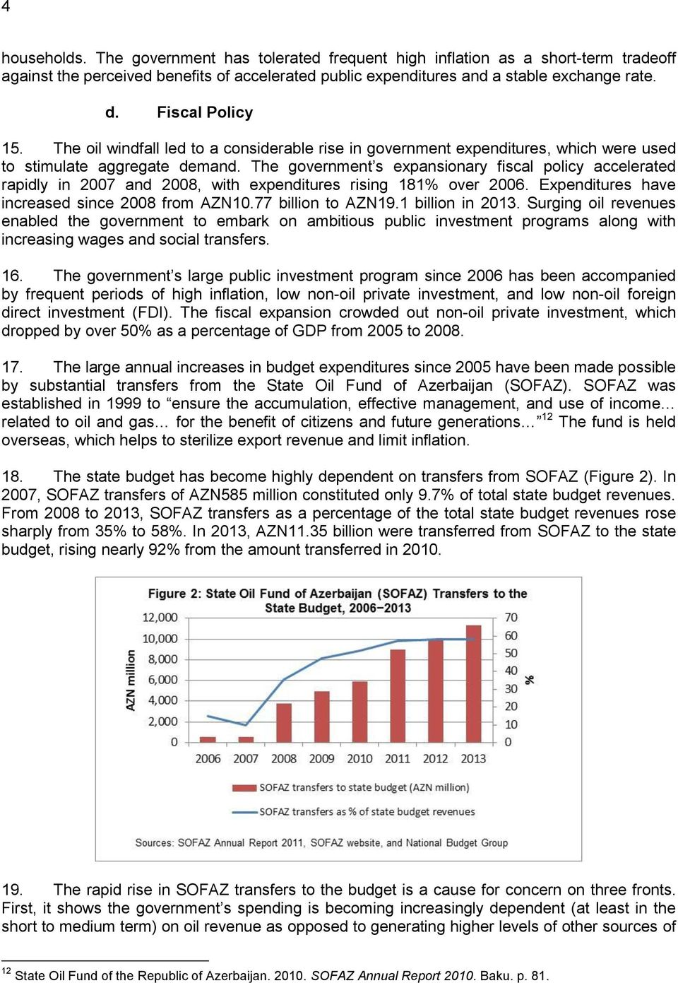 The government s expansionary fiscal policy accelerated rapidly in 2007 and 2008, with expenditures rising 181% over 2006. Expenditures have increased since 2008 from AZN10.77 billion to AZN19.