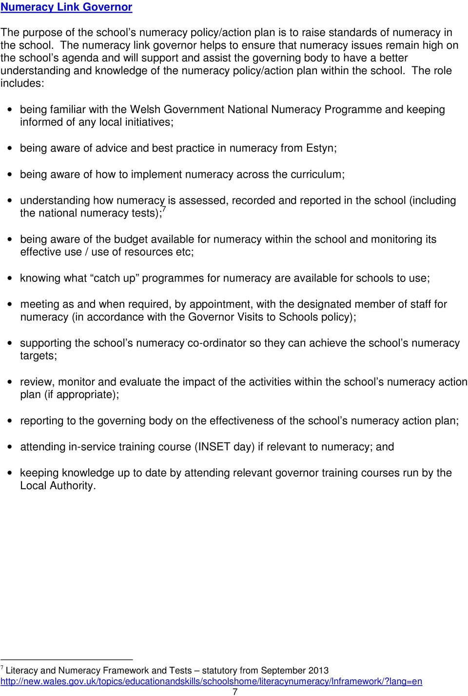 numeracy policy/action plan within the school.