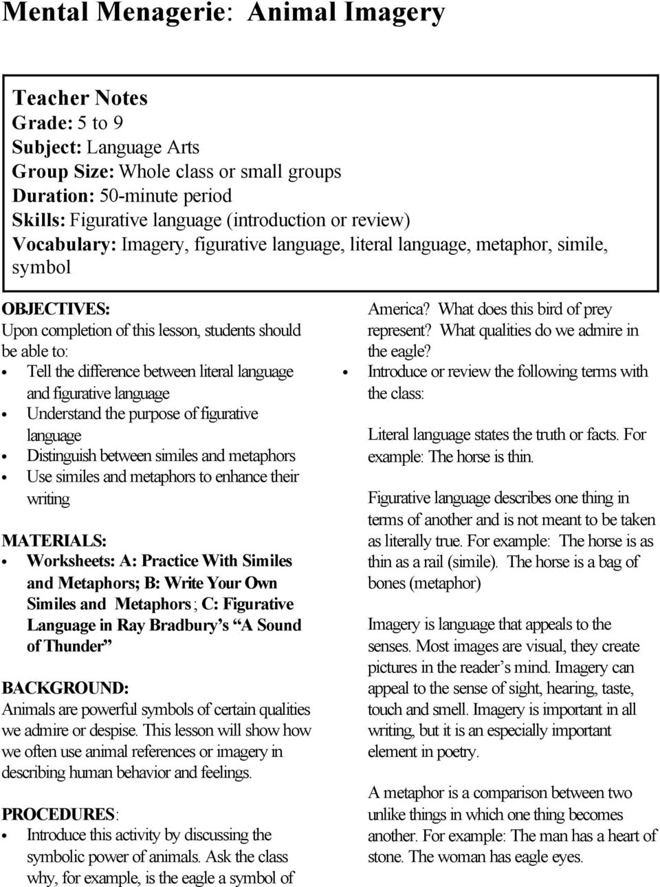 worksheet Figurative Language Review Worksheet mental menagerie animal imagery pdf literal language and figurative understand the purpose of distinguish between similes metaphors