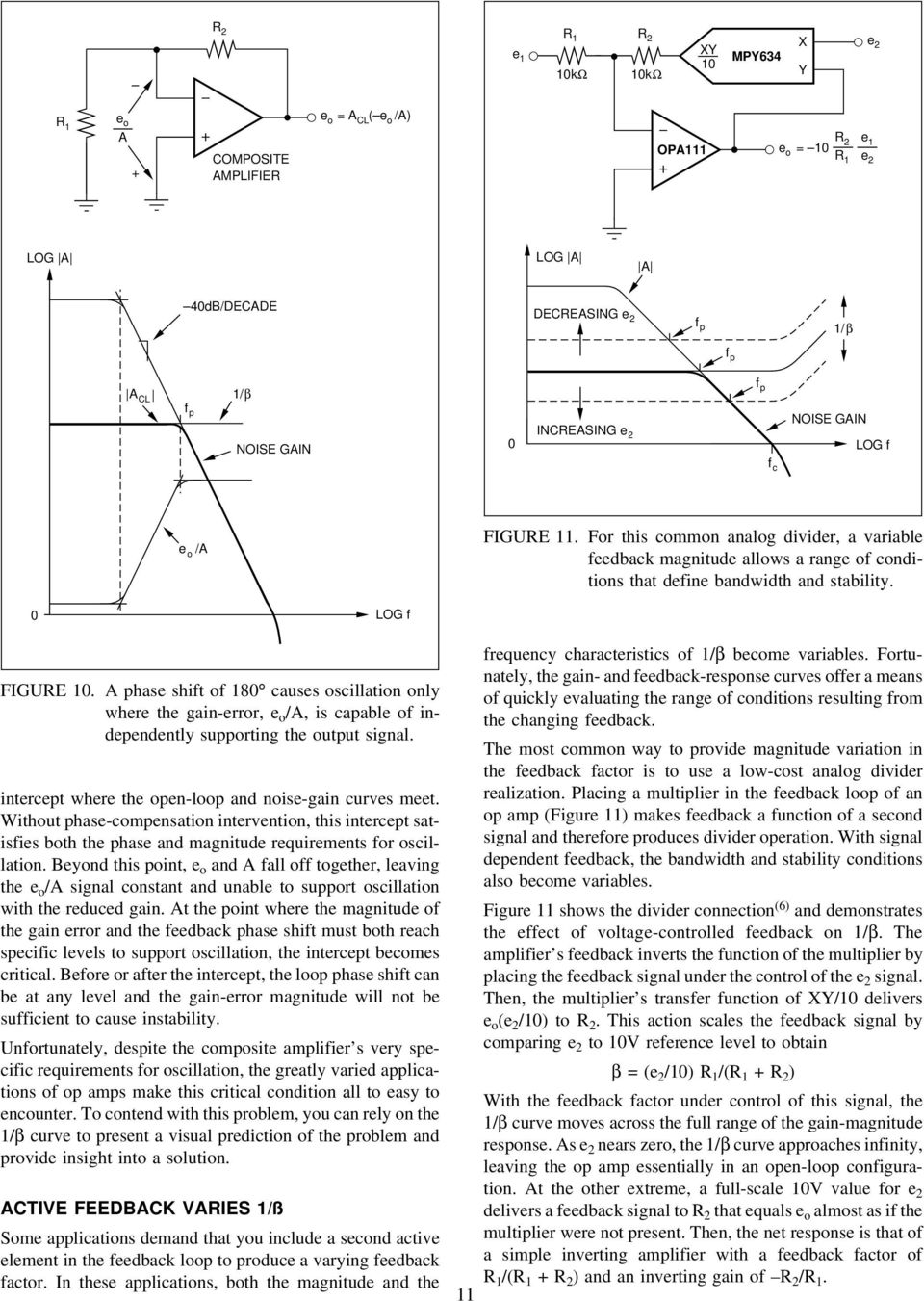 Application Bulletin Pdf Representative Schematic Of A Currentfeedback Opamp Or Amplifier Phase Shift 18 Causes Oscillation Only Where The Gain Error