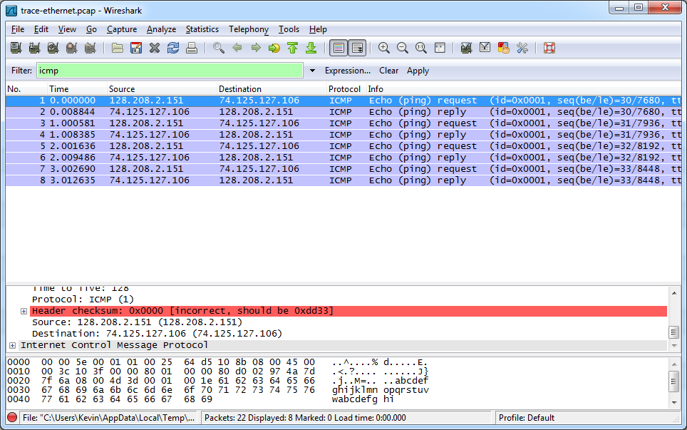 Step 1: Capture a Trace Proceed as follows to capture a trace of ping packets. Right click and choose Save Link As and down the following trace file -http://scisweb.ulster.ac.uk/~kevin/com320/labs/wireshark/trace-ethernet.
