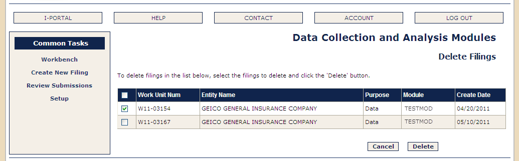 DELETE FILINGS The Delete Filings screen displays common task links as well as the list of Data and No Data filings that can be deleted.