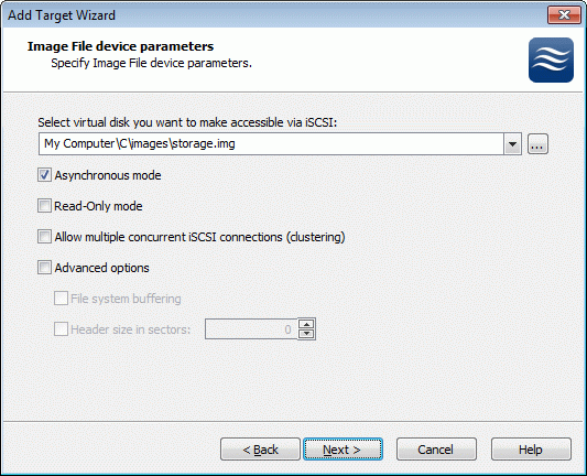 An Image File device can have additional parameters.