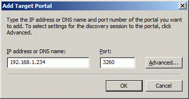In the Add Target Portal dialog, type in the IP address of the computer with StarWind installed and port number