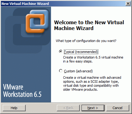 New Virtual Machine Wizard appears.
