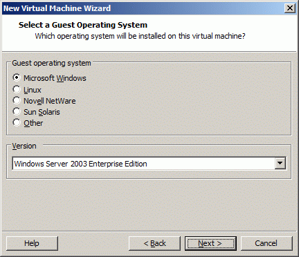 Select a Guest Operating System type to be installed.