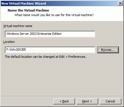 Specify the name of the virtual machine you wish to create in the Virtual machine name field and the location