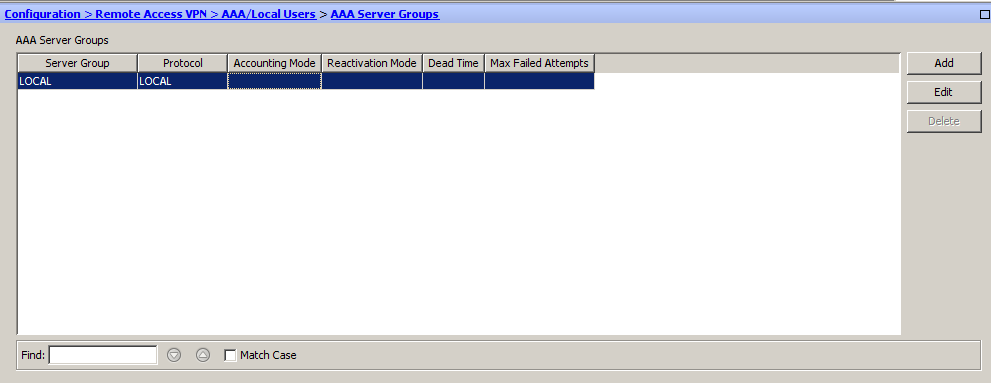 4. In the right pane, under the AAA Server Groups section, click Add. 5.