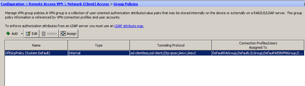 Adding a Group Policy A group policy is a set of user-oriented attribute/value pairs for connections that are stored either internally (locally) on the device or externally on a RADIUS server.
