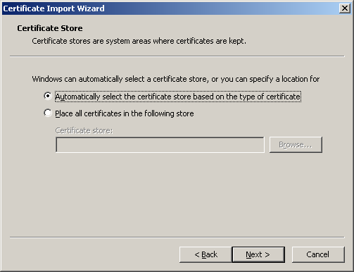 Installing the Certificate (Cont d) Ensure that Automatically select the