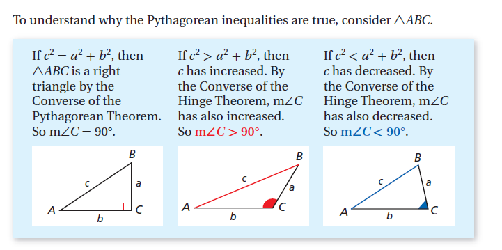 Notes: Pythagorean Theorem Converse and Inequalities The Pythagorean Theorem states: If a triangle is a right triangle, then the sum of the squares of the lengths of the two legs of the triangle is