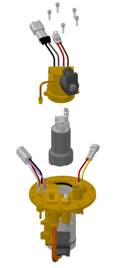 Fuel Pump Developed and Patented by Icom for improved serviceability no