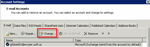 Microsoft Outlook 2010 Basics 103 Accessing a Shared Folder 1. Click on the File tab. 2. Click the Account Settings button.