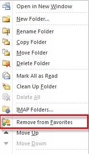 Microsoft Outlook 2010 Basics 113 1. Right-click on the folder. 2. Select the Remove from Favorites option.