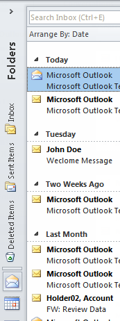 12 Microsoft Outlook 2010 Basics 2. Select the Minimize option. The Navigation Pane is minimized. 3.