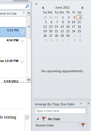 Microsoft Outlook 2010 Basics 13 The To-Do Bar The To Do' Bar allows you to see upcoming appointments or tasks.