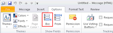 Microsoft Outlook 2010 Basics 27 Copying a Mail Message to a Recipient Microsoft Outlook 2010 allows you to carbon copy or blind copy additional recipients. Carbon Copy (Courtesy Copy) a Recipient 1.