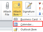 30 Microsoft Outlook 2010 Basics Adding Outlook Items to your Mail Message You can attach additional items to a mail message, such as a calendar or task.