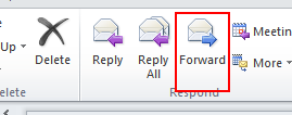 Microsoft Outlook 2010 Basics 33 Or 1. Open the mail message. 2. Click the Reply All button on the Message ribbon. 3. Write your response and click the Send button.