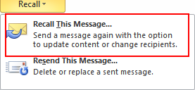 36 Microsoft Outlook 2010 Basics 5. Click the Info Ribbon. 6. Select Message Resend and Recall. 7. Choose Recall this Message. Resending an Email Message 1.
