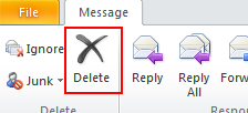 Microsoft Outlook 2010 Basics 43 Deleting Messages If you no longer need a mail message, you can delete it from your account. The mail message will stay in your Deleted Items folder for seven days.