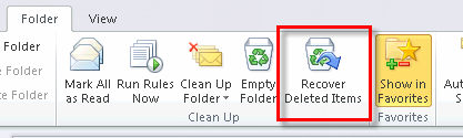 46 Microsoft Outlook 2010 Basics Deleting a Mail Message Permanently 1. Click on the folder to which you want the mail message to return. 2. Right-click on the mail message. 3.