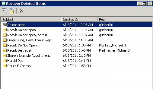 Microsoft Outlook 2010 Basics 47 4. Choose the mail item you wish to recover. 5.