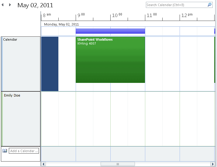 56 Microsoft Outlook 2010 Basics Schedule Displays multiple calendars (such as proxy calendars) in a horizontal view. Switching Views 1.