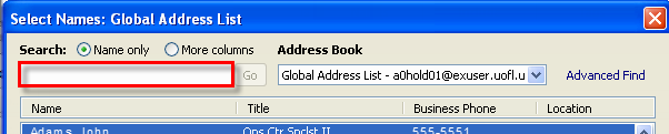 76 Microsoft Outlook 2010 Basics Address Book and Contacts List Global Address Book As with Novell GroupWise, Microsoft Outlook 2010 has the University of Louisville s global address