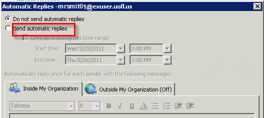 92 Microsoft Outlook 2010 Basics Out of Office Reply When you are out of the office, for example on vacation, you can use 'Automatic Replies' to respond whenever someone sends you an email message.