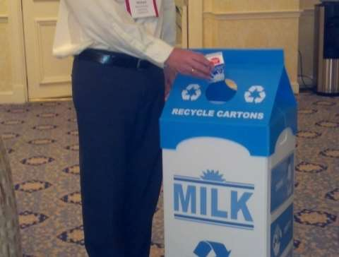 MILK CARTON BIN BIN PROVIDED BY CARTON COUNCIL CAN LINE WITH PLASTIC BAGS AND USE