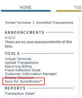 Step 1: Log into the Authorize.Net Merchant Interface. Step 2: Select Sync for QuickBooks from the left navigation menu.